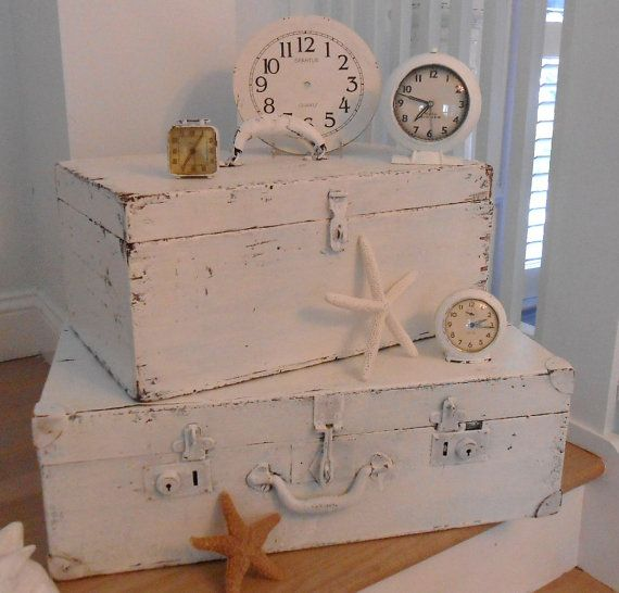 Antique wood suitcases boxes shabby chic painted furniture