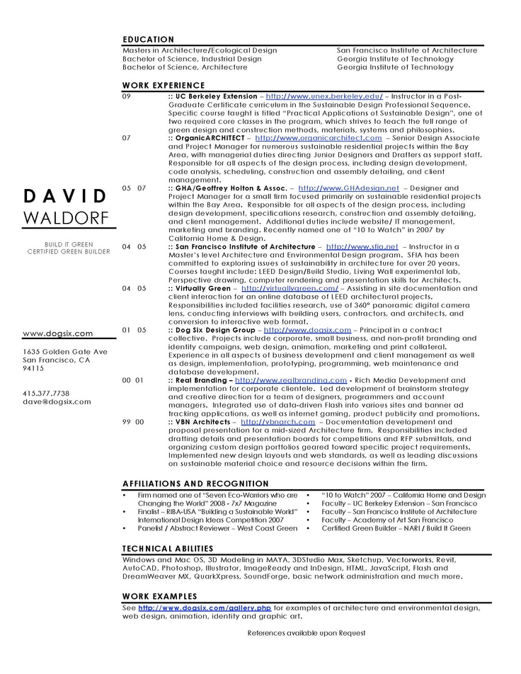 10 best Resume Information images on Pinterest Cv design - architecture resume sample