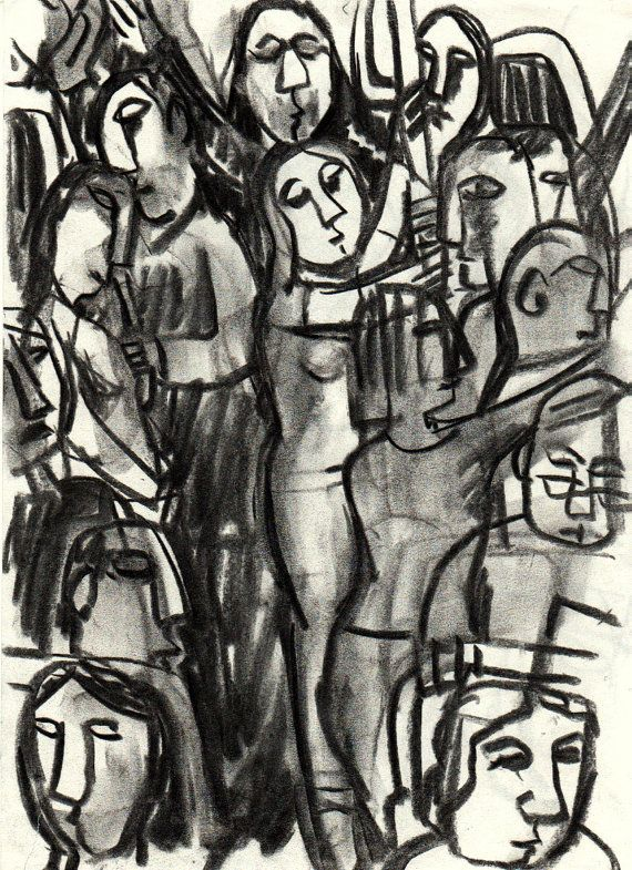 In the Metro Packed. Original Charcoal Drawing by MetroStudio