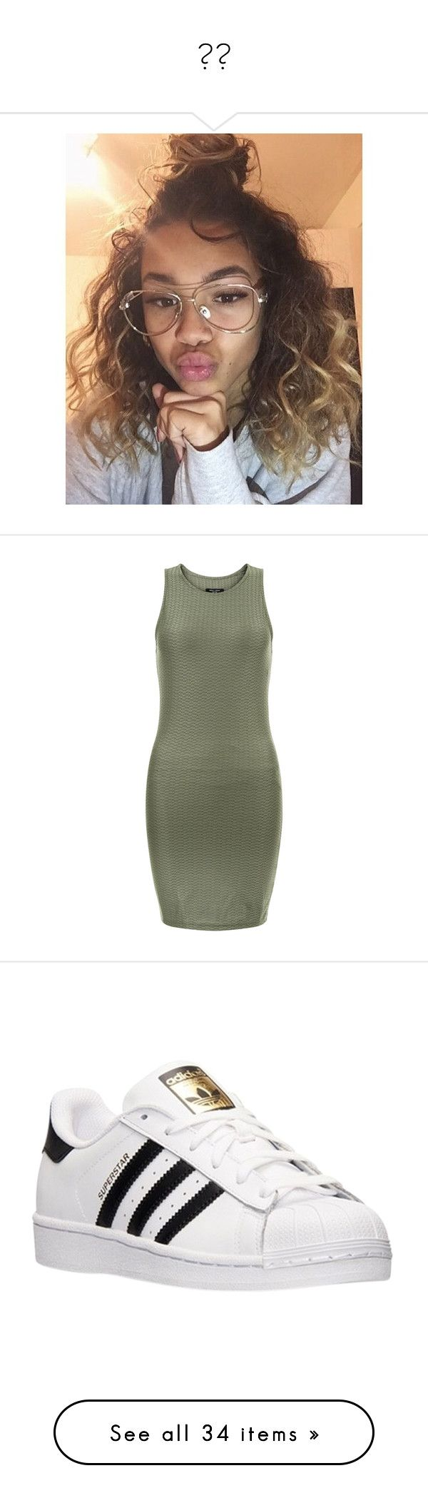 """""""✨✨"""" by saucinonyou999 ❤ liked on Polyvore featuring dresses, khaki, bodycon dress, textured dress, body con dress, khaki green dress, petite dresses, shoes, sneakers and adidas"""