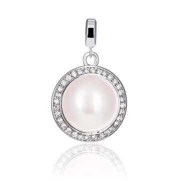 Pearl Orbit Pendant, available in small and large sizes
