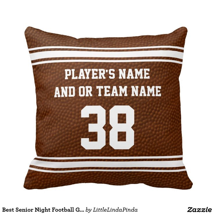 """Great Football Senior Night Gifts for Players or the whole football team. PERSONALIZED with each player's NAME, TEAM NAME and Jersey NUMBER or Your Text. CLICK"""" http://www.zazzle.com/best_senior_night_football_gifts_personalized_pillow-189354538916625653?rf=238147997806552929 Cool football background with sport font. We have many other customized football gifts HERE: http://www.zazzle.com/littlelindapinda/gifts?cg=196532339247083789&rf=238147997806552929 For HELP CALL Linda at: 239-949-9090"""