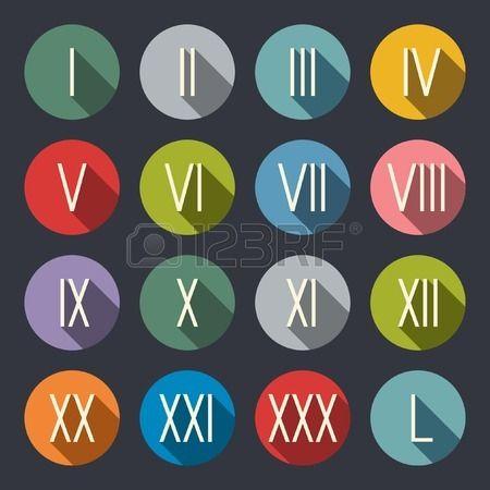 ロングシャドウ フラットデザイン 参考になるローマ数字のデザイン