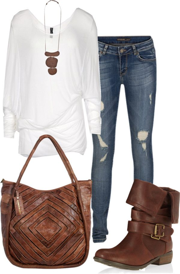 """easy for all casual occasions! do a more """"bling"""" bag and necklace to dress it up! even a pair of miss me jeans"""