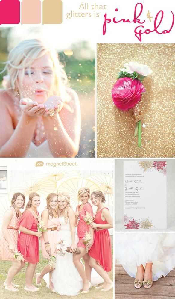 Our favorite color is... Sparkles!   Pink and gold wedding color inspiration