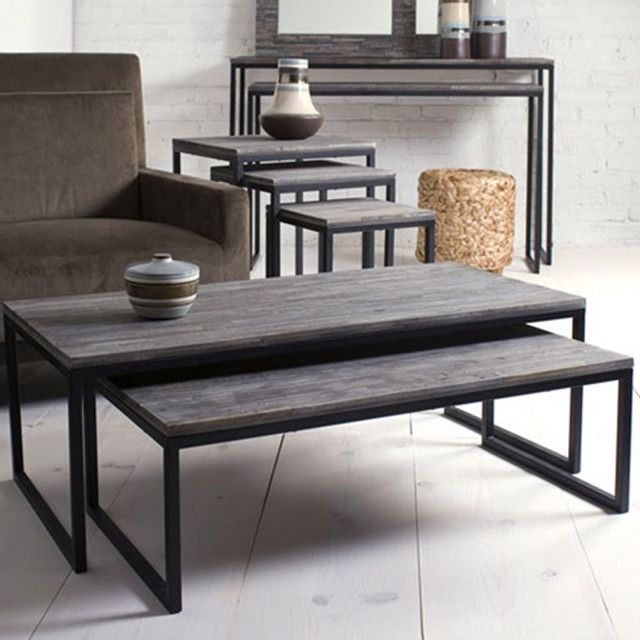 Shiraleah Rubberwood Nesting Coffee Tables