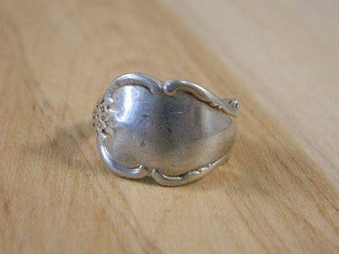 Sterling Silver Spoon Ring / Vintage Breton Rose Engravable Spoon Ring / Silver Spoon Band Size 7 by VintageBaublesnBits on Etsy