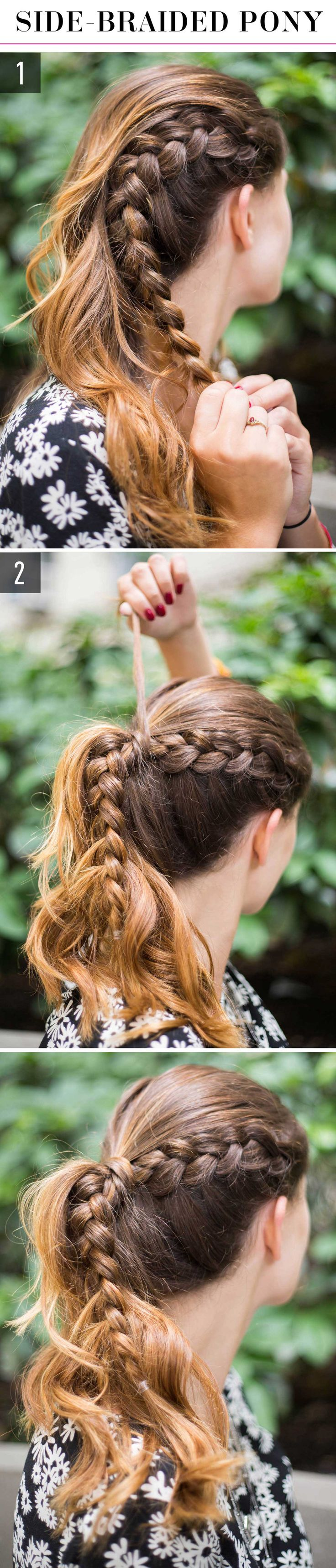 1.French braid a section of hair on one side of your head from the hairline all the way down to the ends, and secure it with a small hair tie. 2.Gather all your hair, including the braid, into a ponytail, secure it with a hair tie, and wrap a sliver of hair around the elastic to conceal it. Pin the hair in place.
