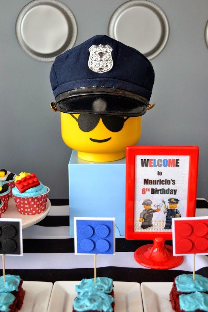 Lego City Police themed birthday party via Kara's Party Ideas KarasPartyIdeas.com Cake, decor, printables, invitation, favors, stationery, a...
