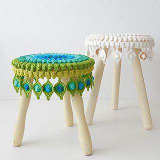 Crochet peacock feather step stool covers