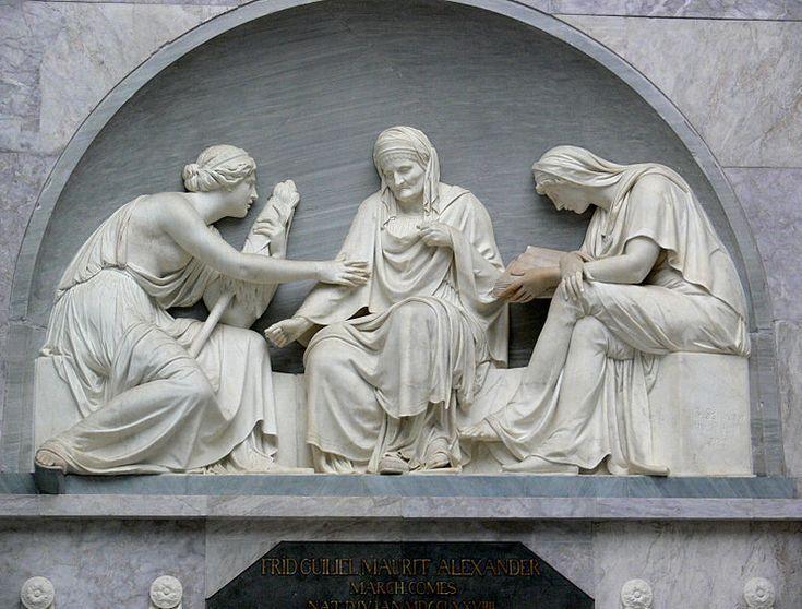 The three Moirai. Relief, grave of Alexander von der Mark (de) by Johann Gottfried Schadow. Old National Gallery, Berlin