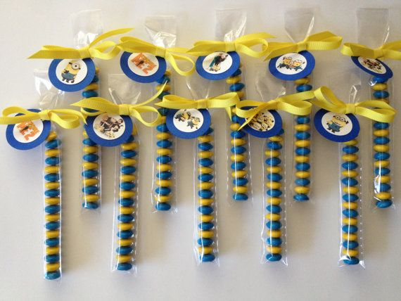 Despicable Me inspired M & M Party Favors, Set of 8, tied with Tags and Grosgrain Ribbon on Etsy, $8.00