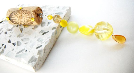 Wine Cork Ornament Yellow Ornament Beaded Icicle by mscenna