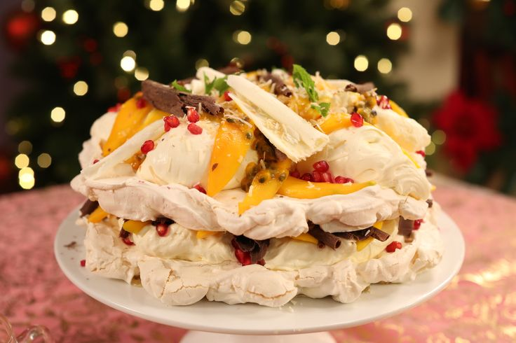 Shelina Permaloo's Coconut and Tropical Fruit Meringue Cake
