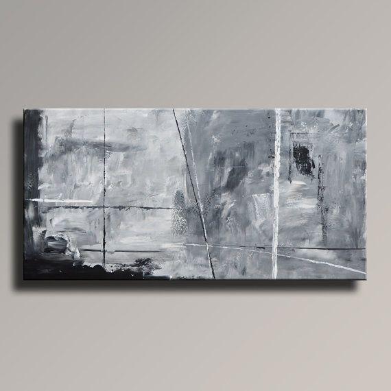 ABSTRACT schilderij zwart wit grijs schilderij originele door itarts