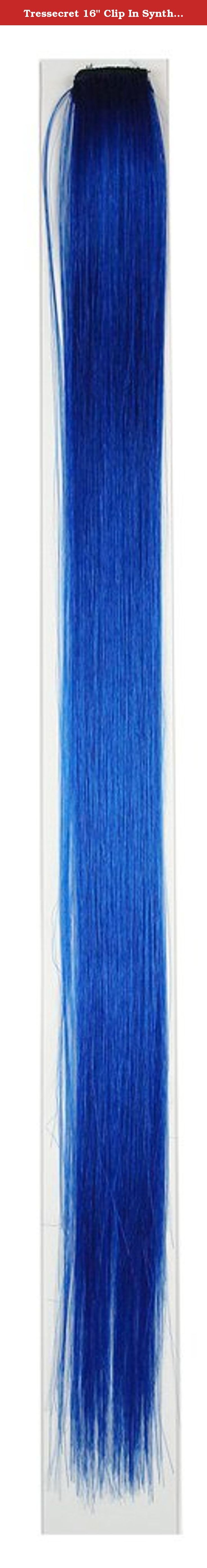 """Tressecret 16"""" Clip In Synthetic Hair Highlight, Blue. Tressecret 16"""" Clip In Synthetic Hair Highlight is a quick and easy way to add a streak of color to your hair. Made from high quality synthetic hair. Silicone Clip holds hair tight for activity."""