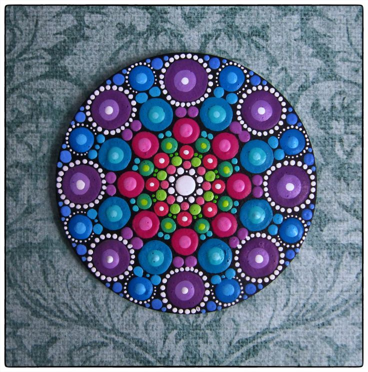 Mini Original Round Painting Jewel Drop Mandala by ElspethMcLean