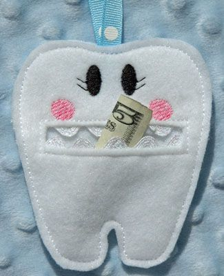 In the Hoop Tooth Fairy Pouch (Machine Embroidery Design created by Embroidery Garden, but could also do by hand)