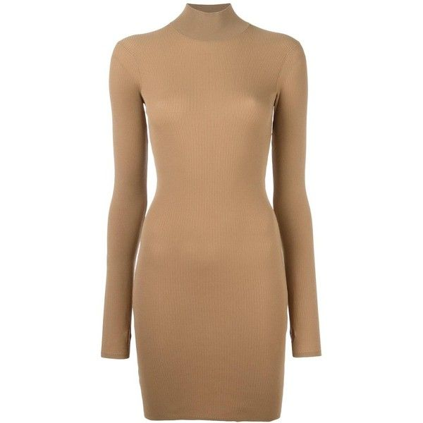 Yeezy Season 3 high neck mini dress ($834) ❤ liked on Polyvore featuring dresses, brown, beige dress, high neck dress, mini dress, high neckline dress and short dresses