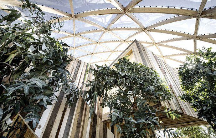 Holzpavillon funktioniert wie ein Treibhaus