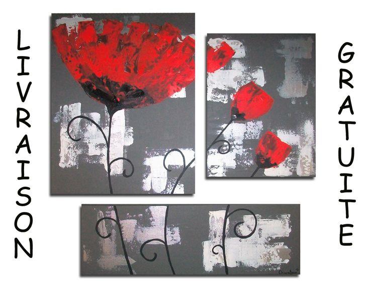 tableau toile triptyque fleur coquelicot rouge gris blanc design chic triptyque peinture diy. Black Bedroom Furniture Sets. Home Design Ideas