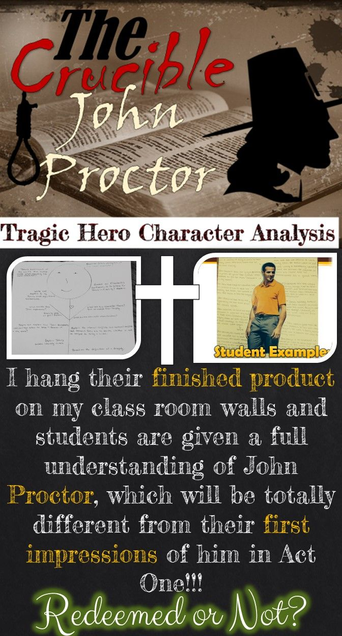 an analysis of the character of john proctor in the crucible a play by arthur miller John proctor is portrayed throughout arthur miller's the crucible as a sensible, honest, hardworking man, but throughout the play, he undergoes a very serious change, not only of heart, but also of faith.