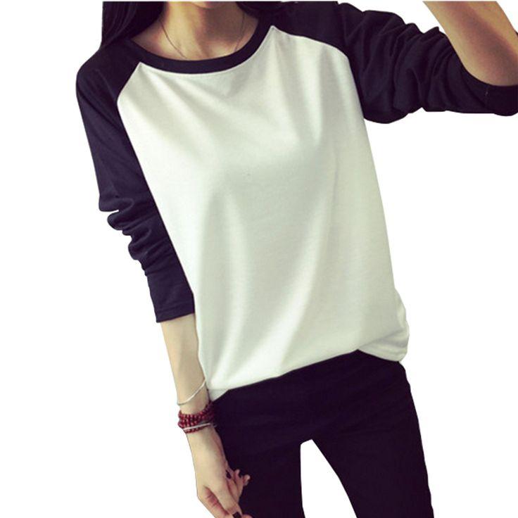 Aliexpress.com: Comprar 2015 otoño estilo coreano mujeres camiseta sudadera Raglan manga larga del remiendo flojo Moleton Tee Tops Femininos más el tamaño M XXL de camisetas casuales fiable proveedores en Younger Style!!!