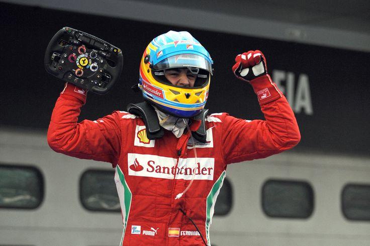 Fernando Alonso, celebrando una victoria
