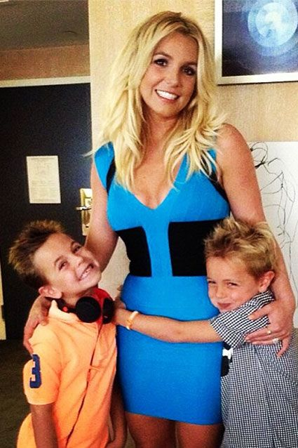"""Britney Spears' sons Jayden and Sean were by her side to celebrate the premiere of Smurfs 2 on July 28, 2013. Britney, who sings the sequel's song Ooh La La, said of her sons: """"Getting ready with my baby boys to head to the #Smurfs2 Premiere. They are bouncing off the walls."""""""