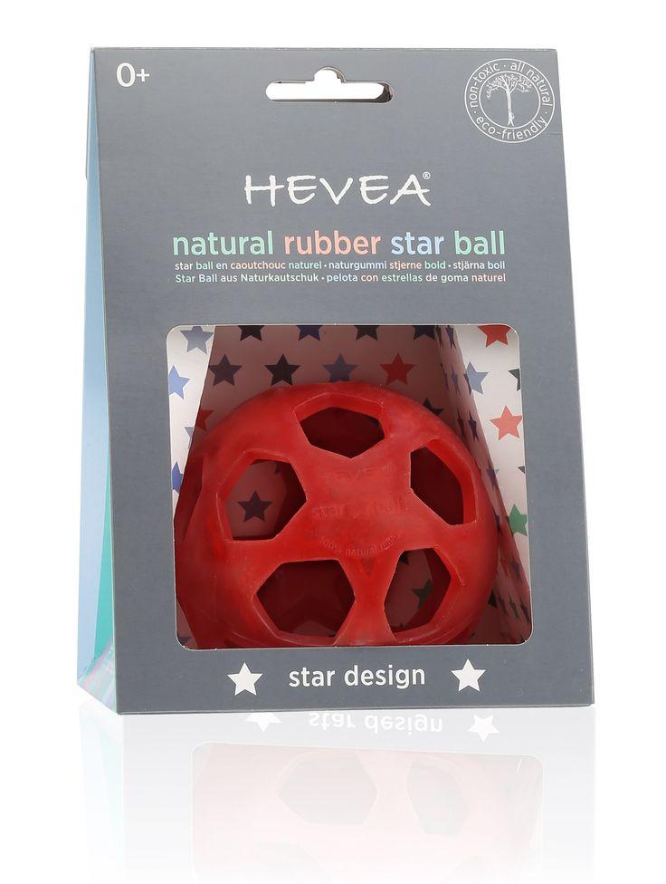 Hevea Natural Rubber Star Ball | Raspberry Red
