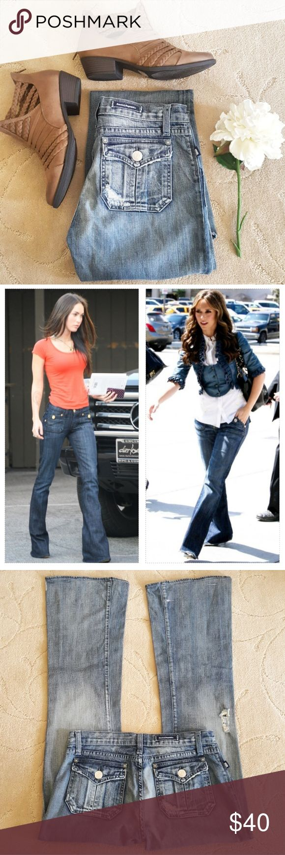 ROCK & REPUBLIC | Scorpion Jeans Perfectly distressed jeans ready to exude boho vibes!  * Style: Scorpion * Distressed by design * Minor wear on hems and has pink mark on right bottom side  * Shown on Megan Fox and Jennifer Love-Hewitt in darker wash   W 30"