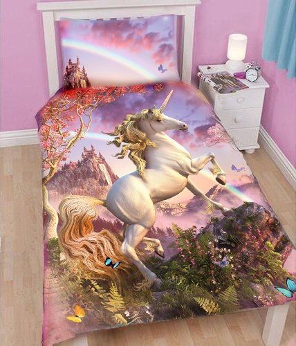 Almost as rare as the unicorn itself!! Finally found an actual unicorn bedding set that works for a young girl. A lot easier to find pillows and blankets.  Check out more bedding by clicking through.