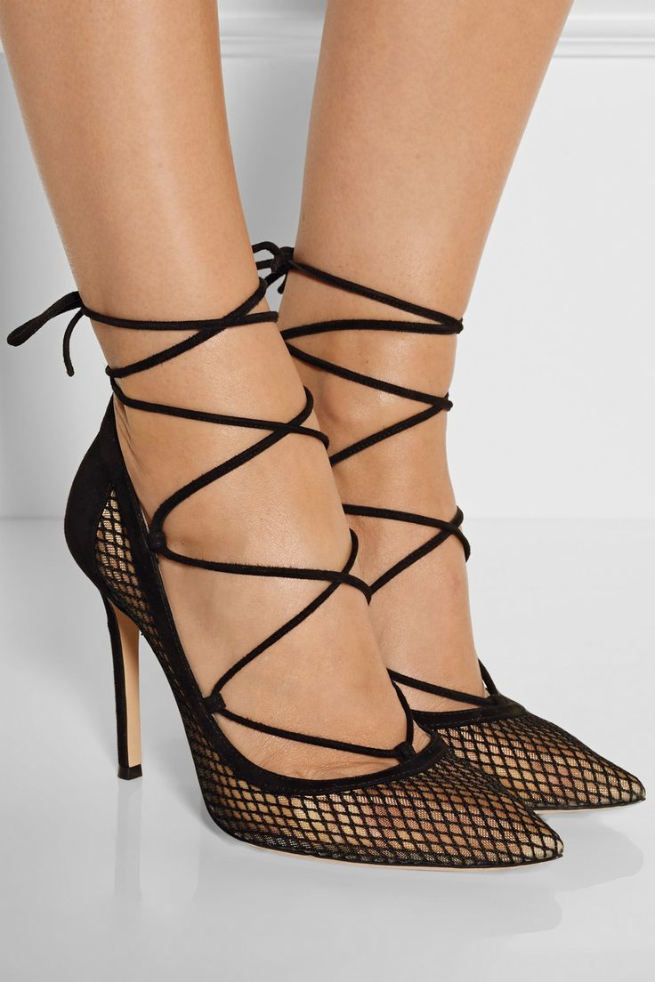 Gianvito Rossi  Laceup suede and mesh pumps  NETAPORTER