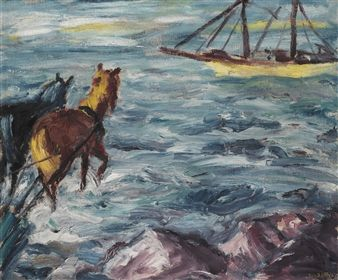 Emil Nolde - EINSCHIFFUNG (EMBARKATION), 1911, oil...
