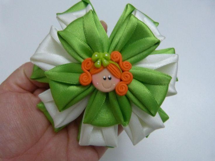 DIY: flores para el cabello paso a paso.ribbon bows in hair. Manualidade...