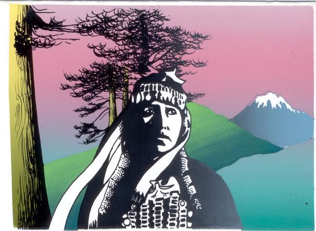 Dibujo mujer mapuche.