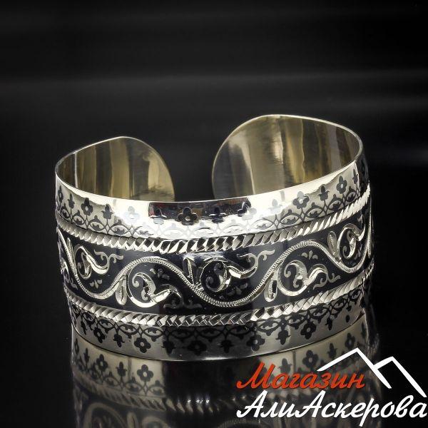 Серебряный кубачинский браслет с алмазной гранью арт.5358
