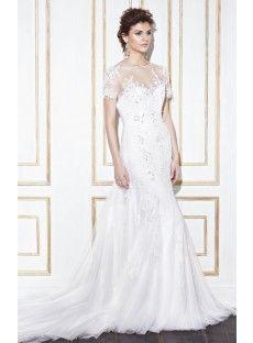 Tank Top Chapel Train Tulle Trumpet Mermaid Wedding Dress