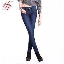 HG # H03 2015 зимние джинсы стрейч бархат для womenmid талии утолщение джинсовые брюки темно-синие узкие ноги тонкие джинсы для девочек новый(China (Mainland))