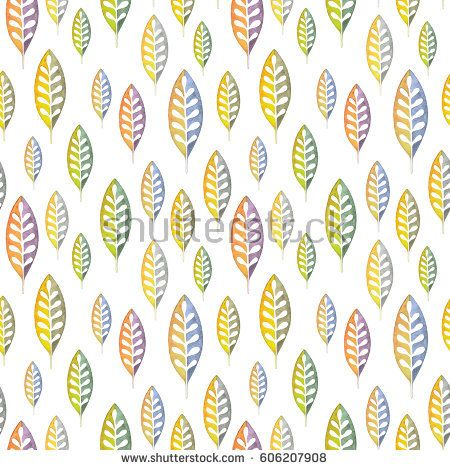 watercolor, pattern, leaf