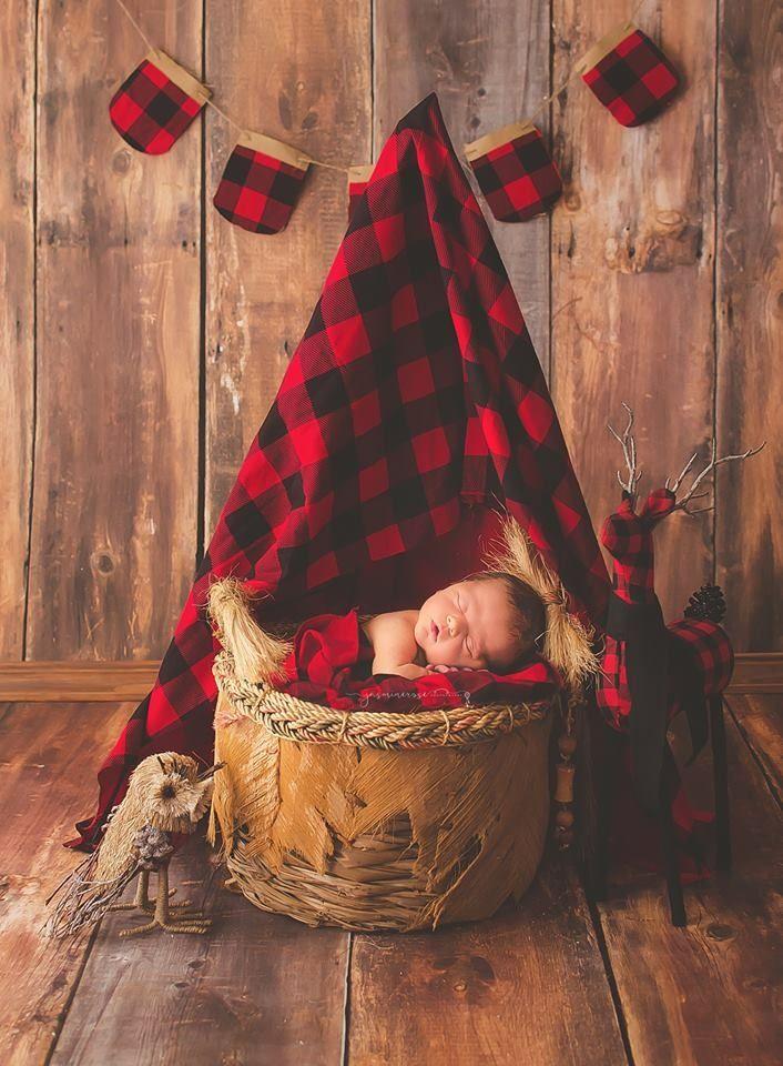 Newborn, newborn photography,  baby boy, red flannel, camping