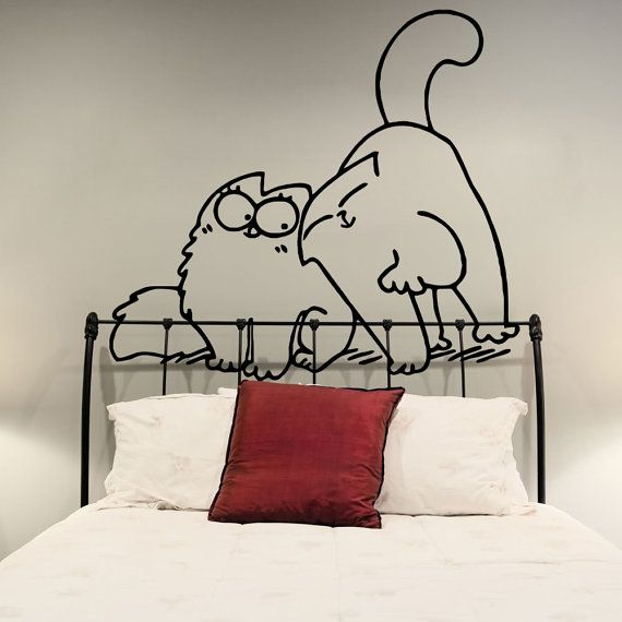 Obsessed.   Cute Funny Simon's Cat In Love Applique Vinyl by DeliciousDeals, $3.99