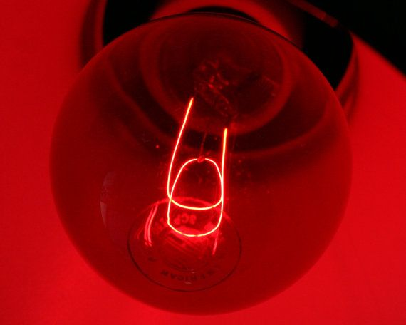 Vintage ruby red light bulb, photo developer, incandescent darkroom safelight, NALCO bulb, dark room safe lightbulb, film photography supply from SmilingCatVintage