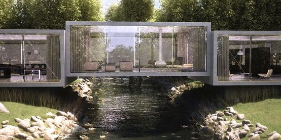 Bridge House By ObjecktCreative..over a creek in Northern California. @ Home Ideas Worth Pinning