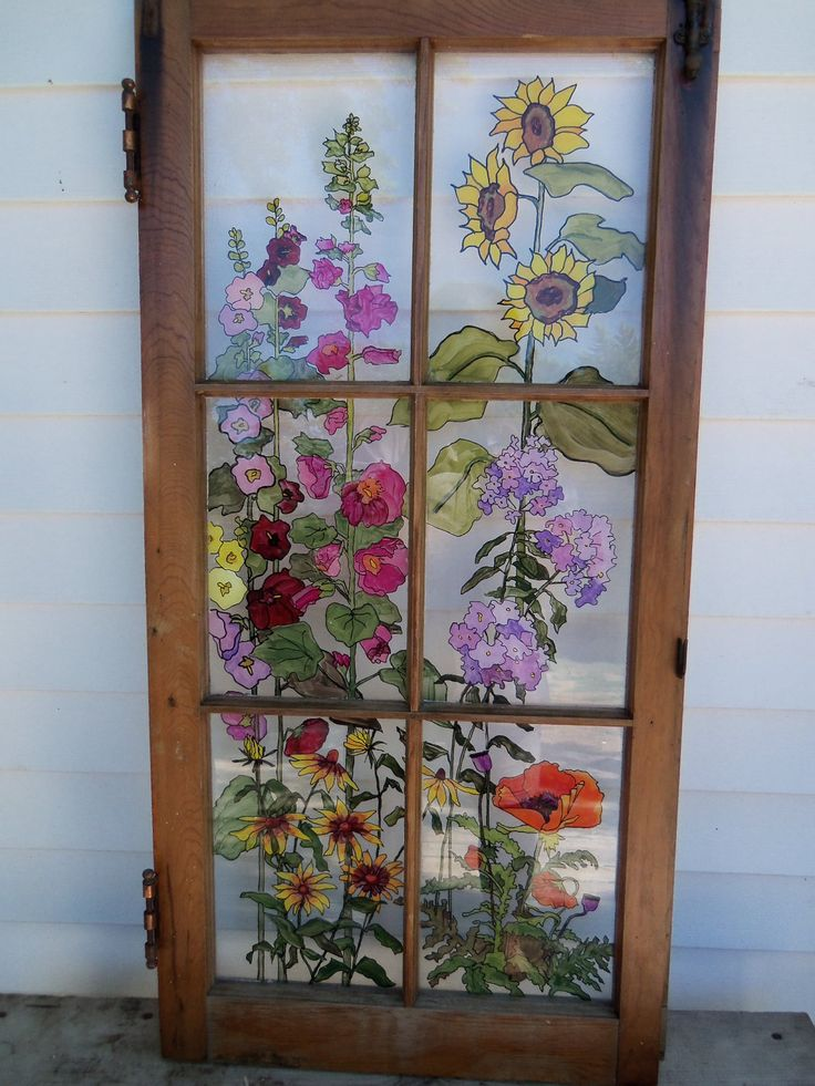 painted old windows as art | Painted Vintage Window Grandma's Garden by 1HeavnCreations