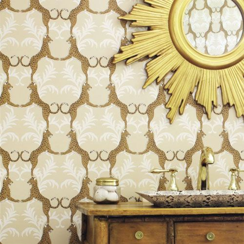 Regal Cheetah Wallpaper in Metallic Gold from #PoshTots #bold #handpainted