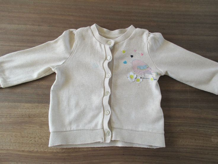 Baby girls H&M beige bird, flower & heart themed cardigan age 6-9 months