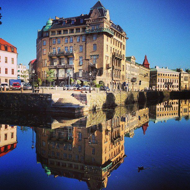 Gothenburg, view over the canal and the square Bas…