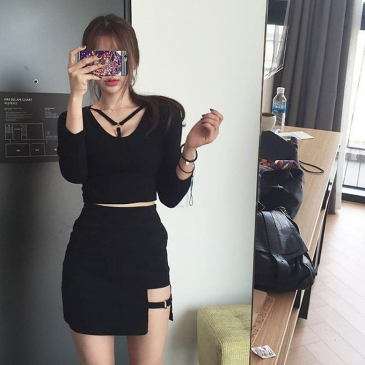 Korean Style Black Package Hip Saia Skirts  - JeyJey