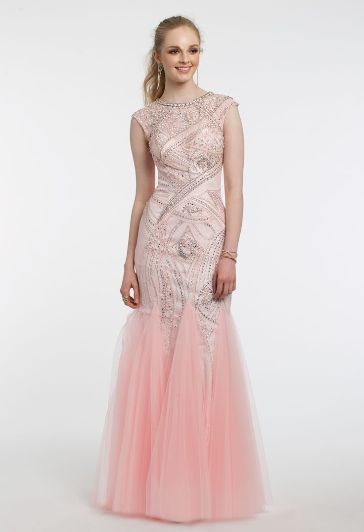 Shimmer on the dance floor in this sparkling prom dress! The beaded bateau neckline, cap sleeves, fitted mesh bodice, and trumpet skirt with godets make for a flawless evening dress. #CLVprom17 #camillelavie